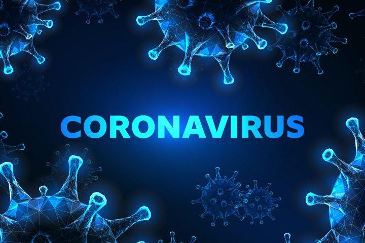 Futuristic glowing low polygonal coronavirus cells banner on dark blue background.